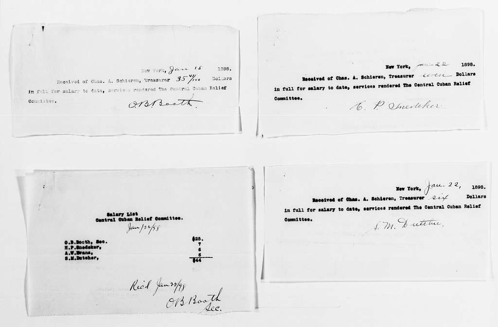 Clara Barton Papers: Red Cross File, 1863-1957; American National Red Cross, 1878-1957; Relief operations; Spanish-American War; Accounts and supplies; Salaries and expenses; 1898, Jan.-May