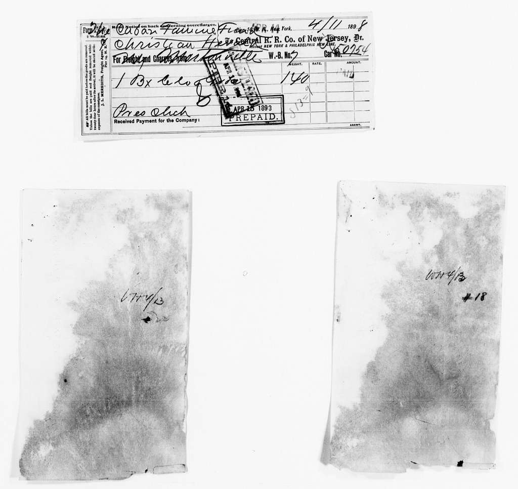 Clara Barton Papers: Red Cross File, 1863-1957; American National Red Cross, 1878-1957; Relief operations; Spanish-American War; Accounts and supplies; Freight bills and manifests; 1898, Apr.-May