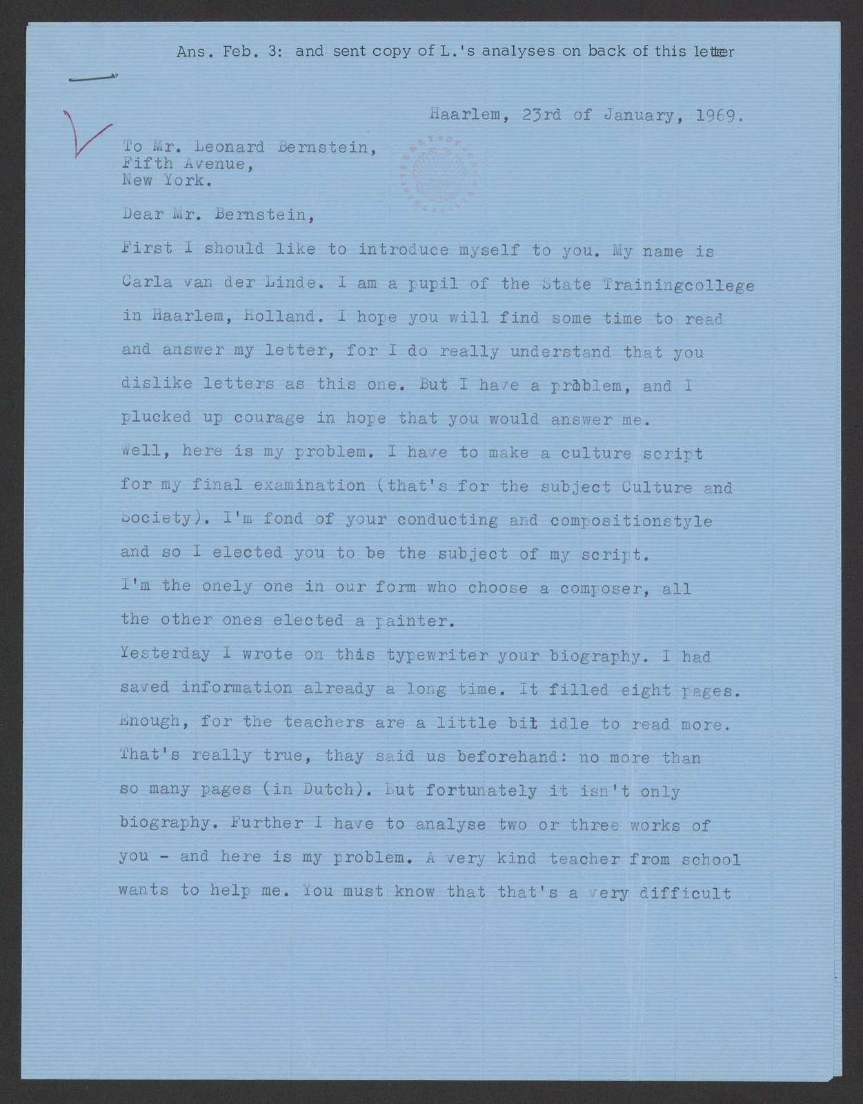 correspondence with a student in Holland re a leitmotif in West Side Story, 1969 Feb. 3