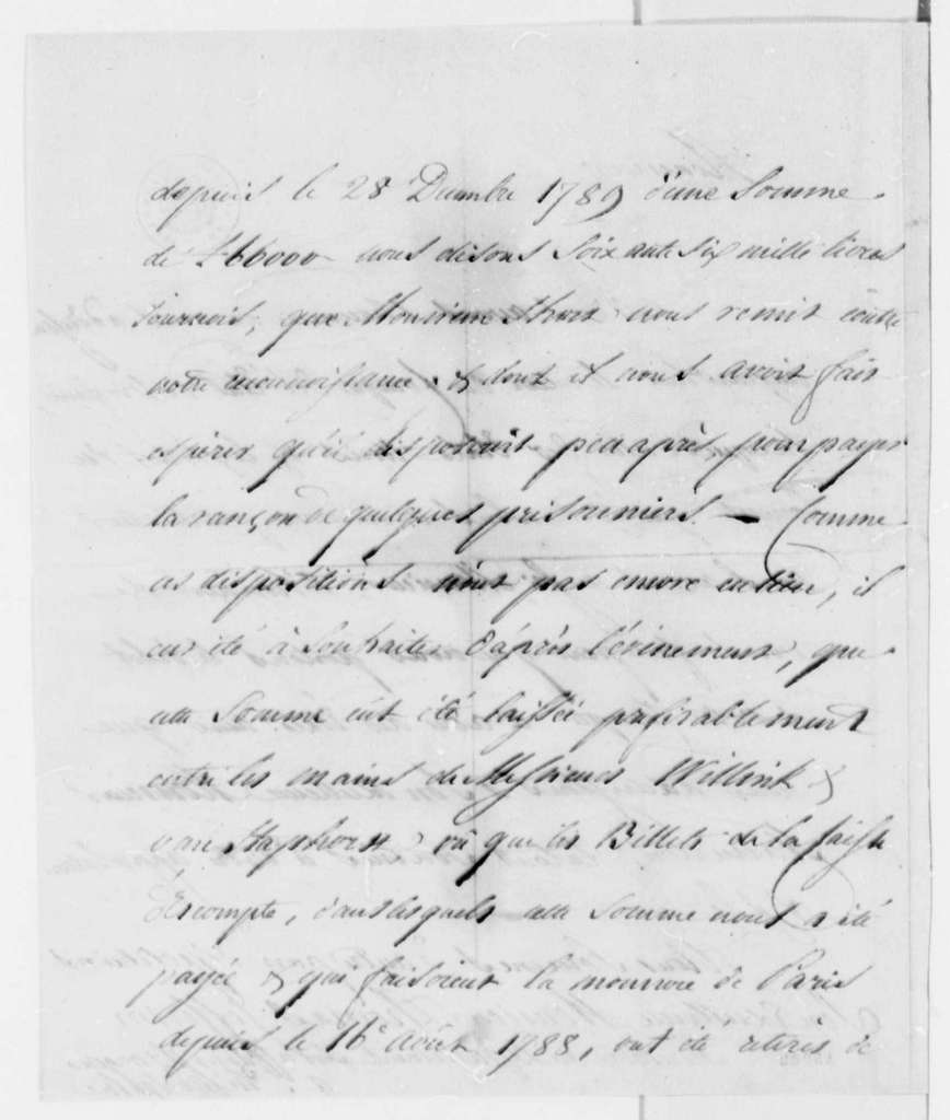 Ferdinand Grand & Company to Thomas Jefferson, May 25, 1793, in French, with Copy and Account