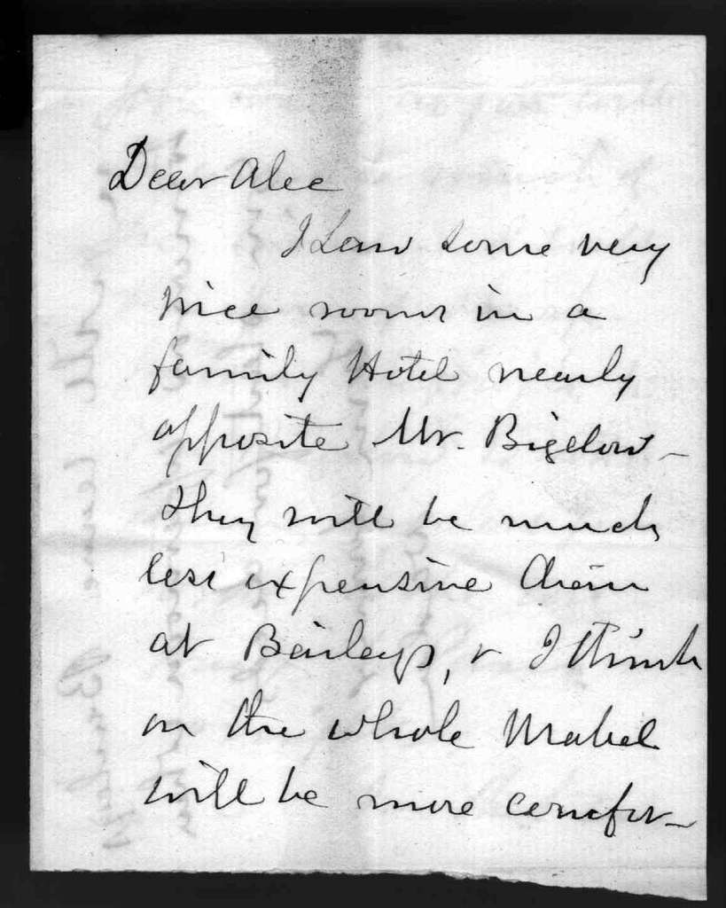 Letter from Gardiner Greene Hubbard to Alexander Graham Bell, undated