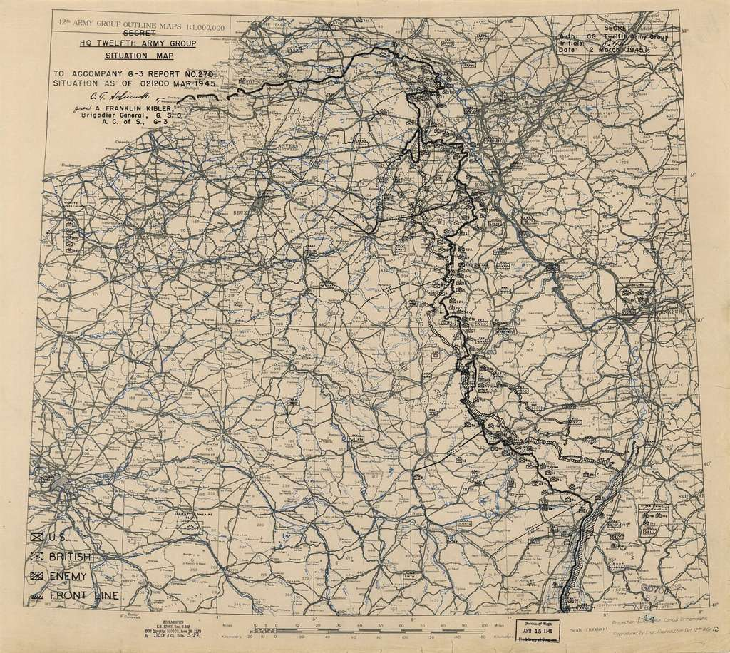 [March 2, 1945], HQ Twelfth Army Group situation map.