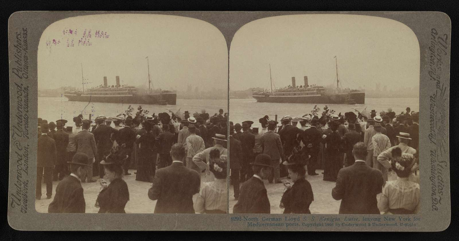 North German Lloyd S.S. Konigin Luise, leaving New York for Mediterranean ports