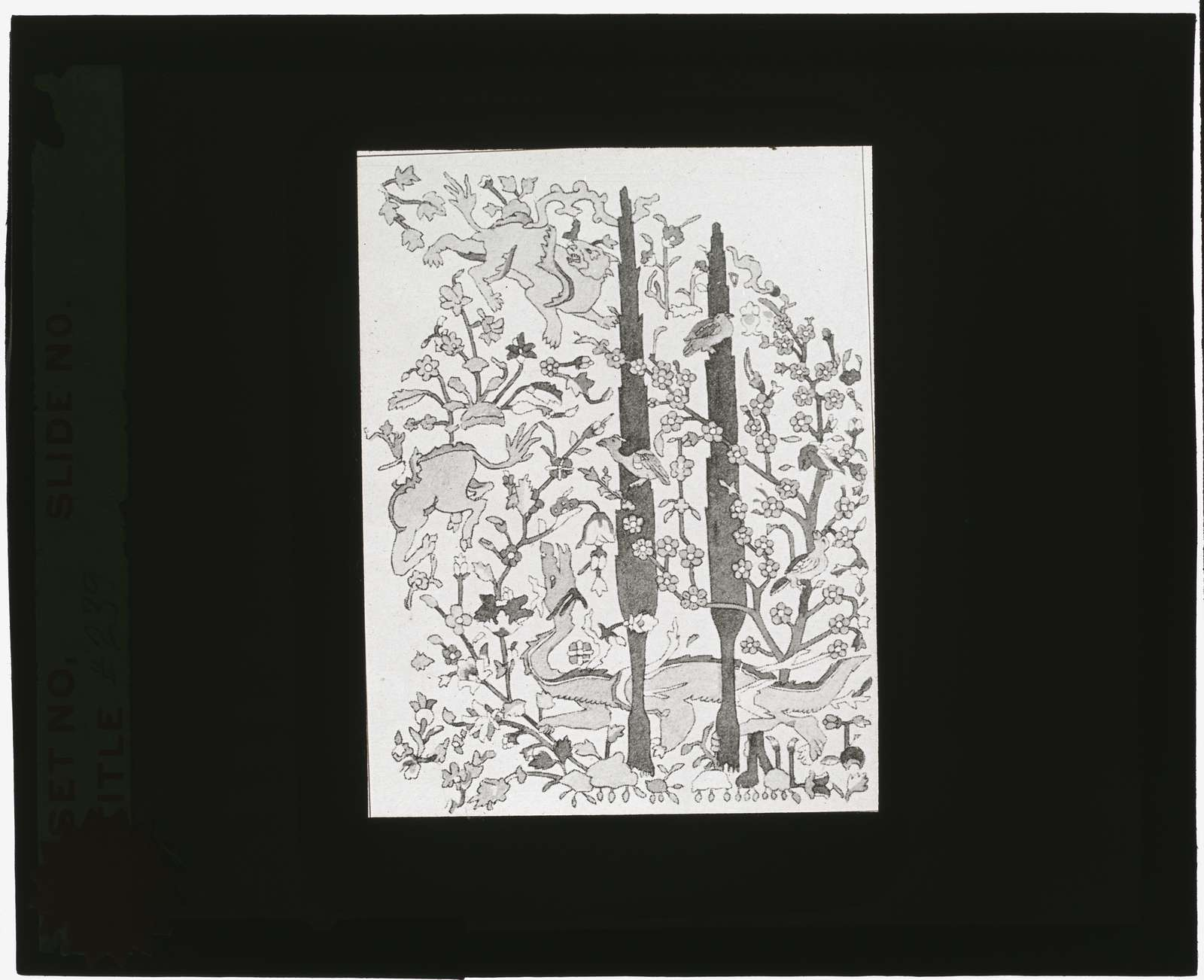 [Reproduction of illustration showing a dragon, cypress, and blossoming tree]