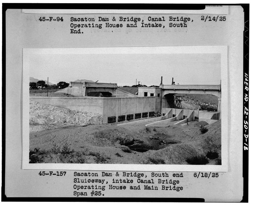 San Carlos Irrigation Project, Sacaton Dam & Bridge, Gila River, T4S R6E S12/13, Coolidge, Pinal County, AZ
