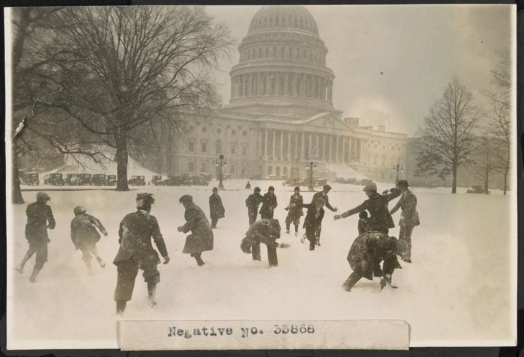 [Senate pages in snow ball battle at Capitol, Washington, D.C.]