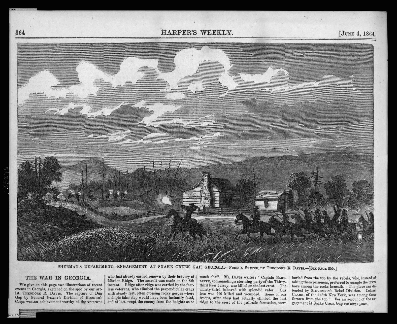 Sherman's department - engagement at Snake Creek Gap, Georgia / from a sketch by Theodore R. Davis.
