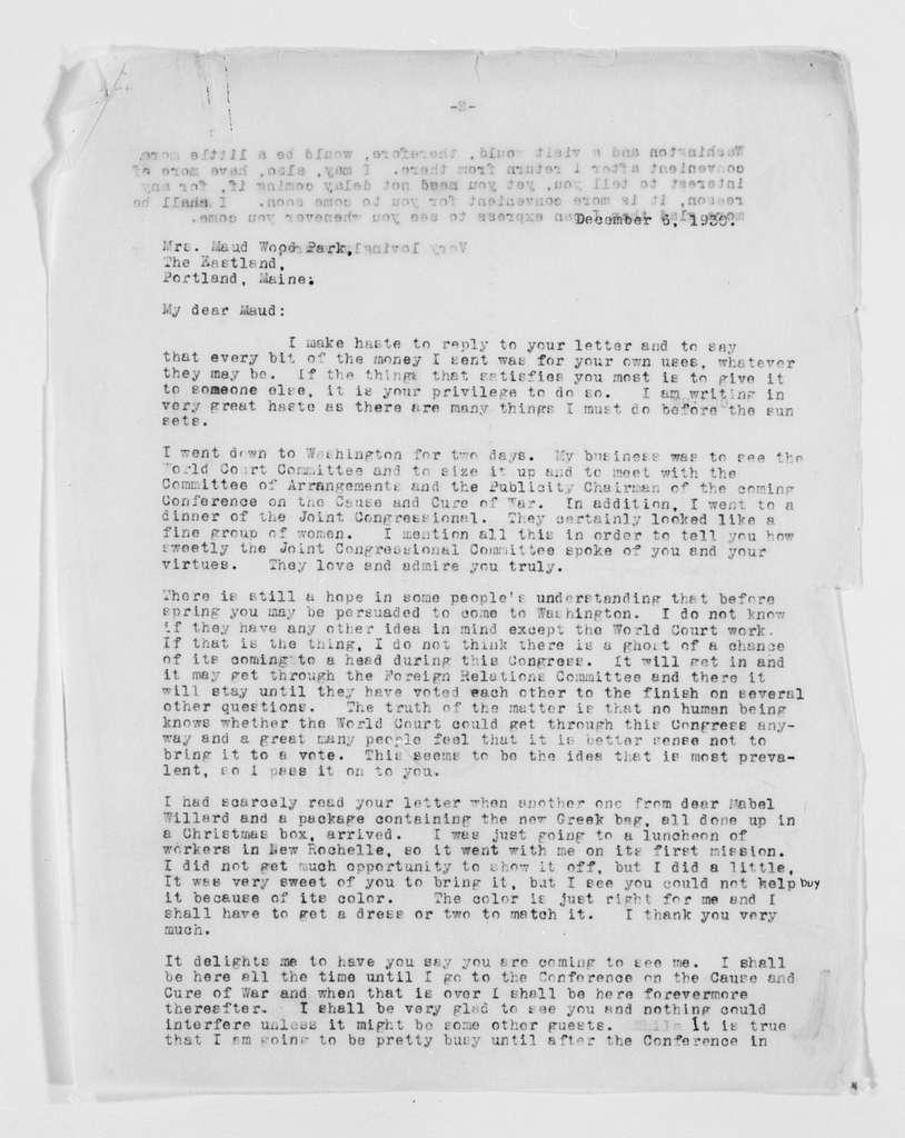 Carrie Chapman Catt Papers: General Correspondence, circa 1890-1947; Park, Maud Wood; 1922-1933