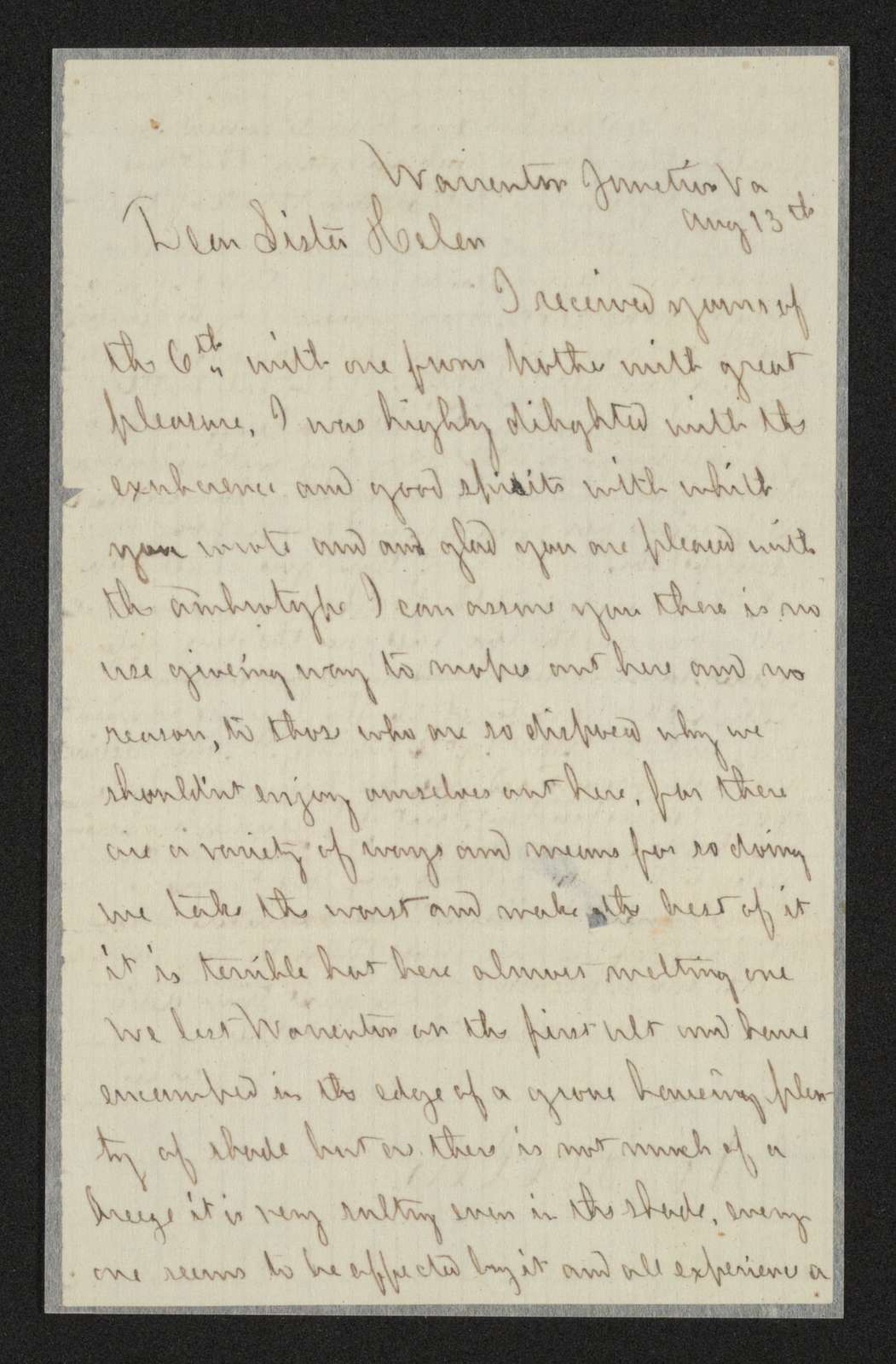 Charles Wellington Reed Papers: Correspondence; 1863; Aug.-Dec.