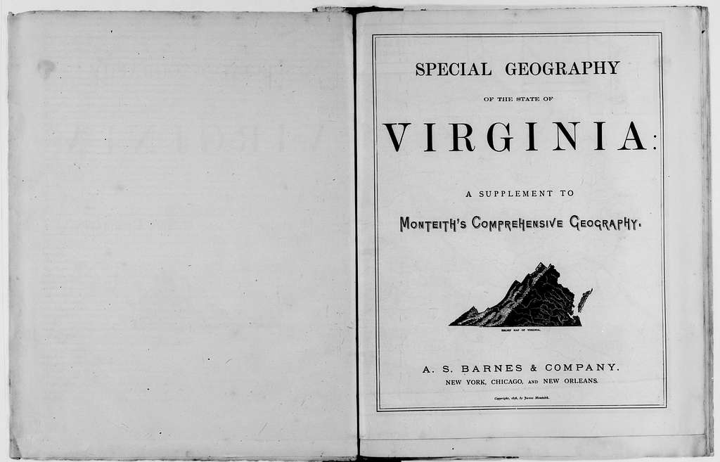 Jedediah Hotchkiss Papers: Writings File, circa 1846-1899; Books by Hotchkiss; Geography of Virginia, a Supplement to the Eclectic Series of Geographies (1878); Printed copy and revisions with author's emendations