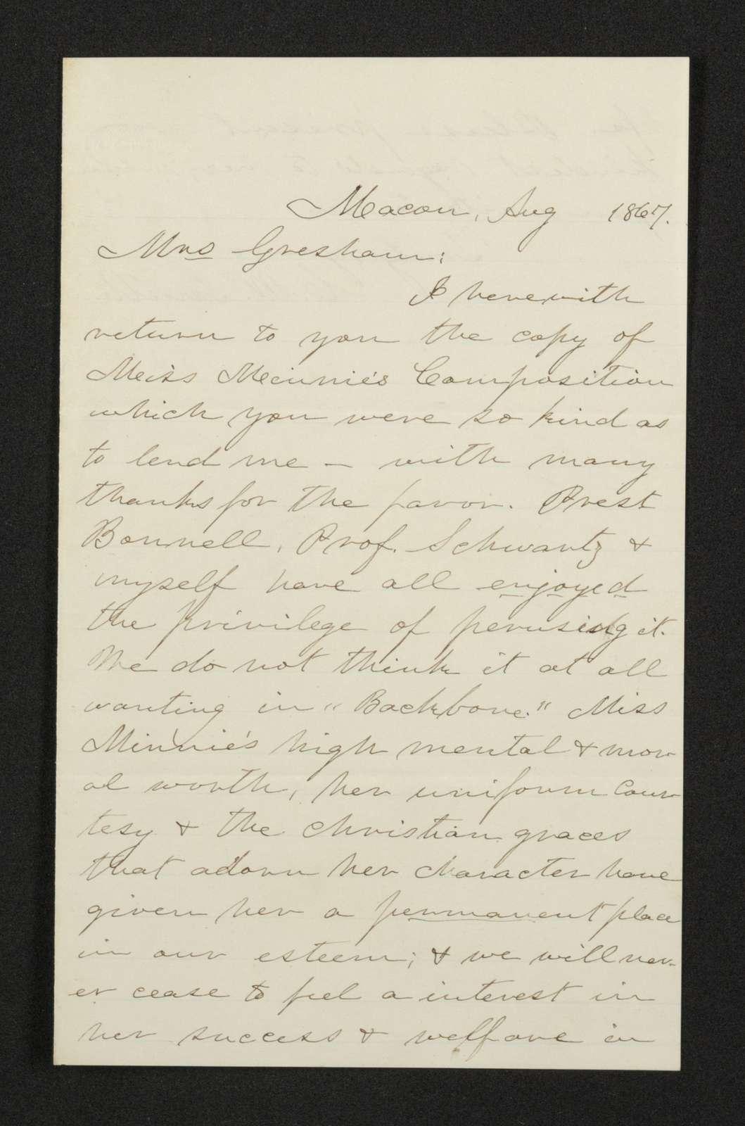 Lewis H. Machen Family Papers: Gresham Family Correspondence, 1834-1925; 1867