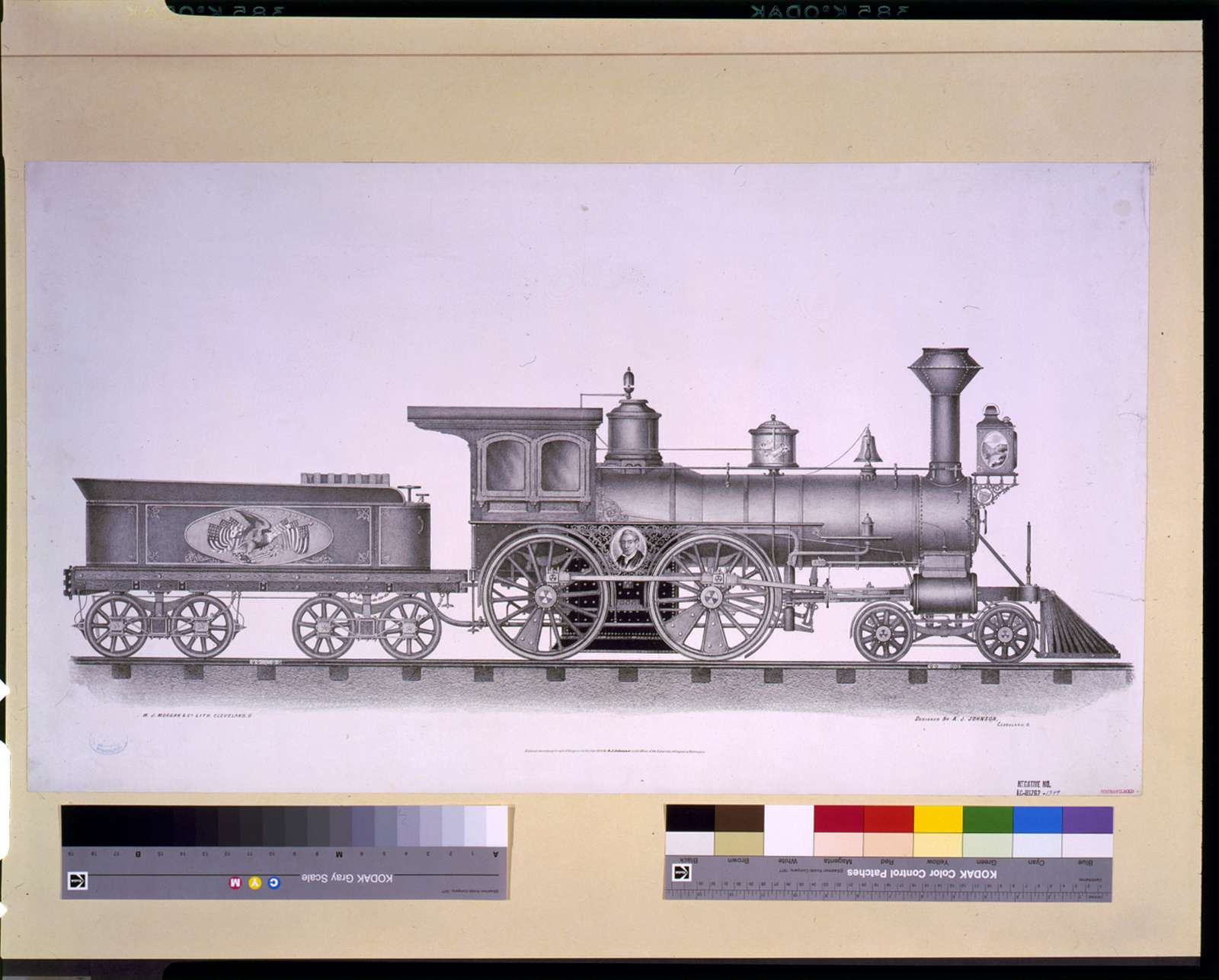 [Railroad engine] / W.J. Morgan & Co. lith., Cleveland, O. ; designed by A.J. Johnson, Cleveland, O.