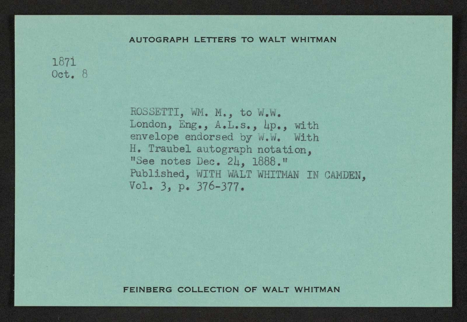Walt Whitman Papers in the Charles E. Feinberg Collection: Supplementary File, 1806-1981; Catalog cards and index, undated; Index, N-Z