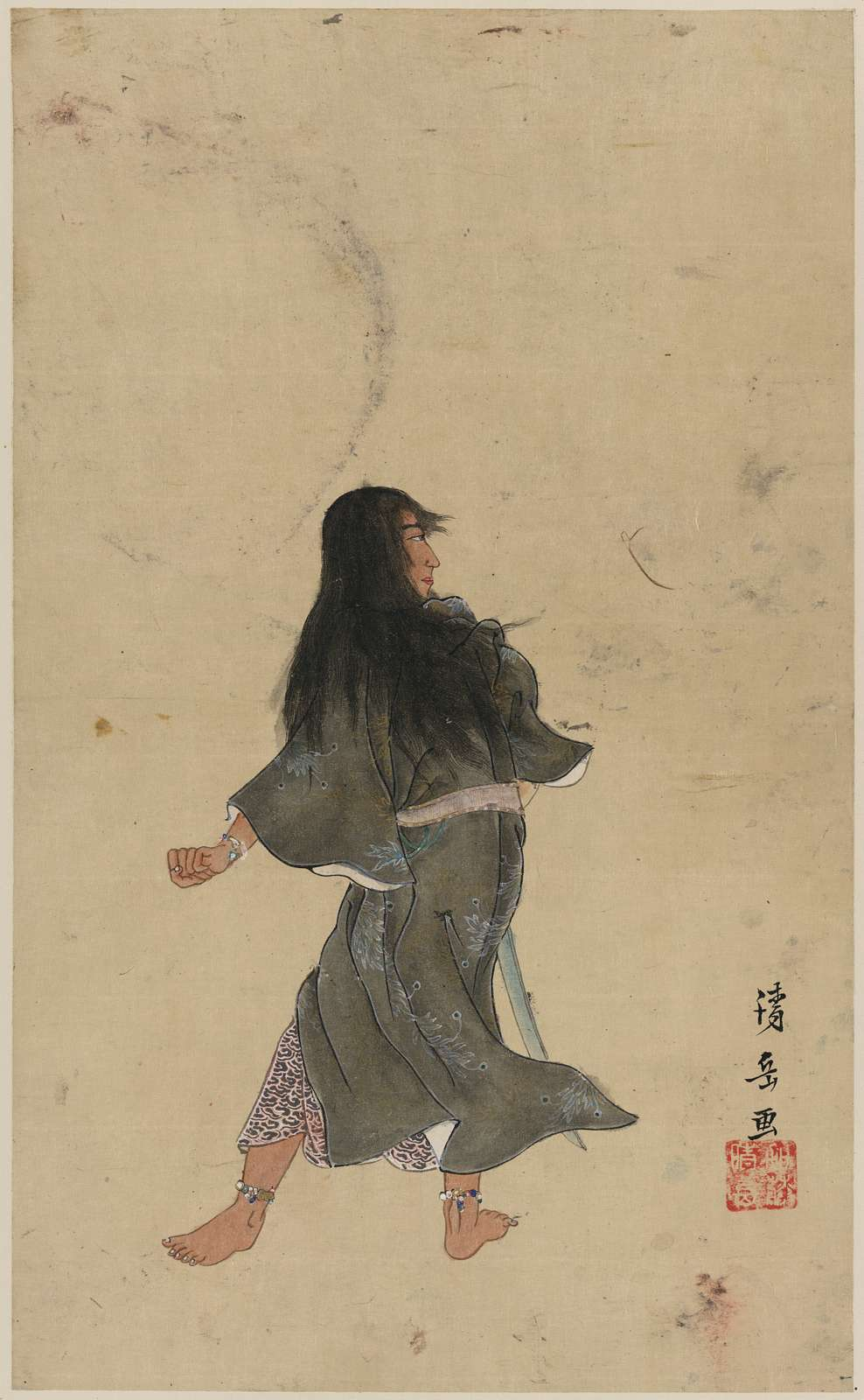 [Warrior or actor with long hair and bracelets around wrist and ankles, full-length, seen from behind, holding a sword]