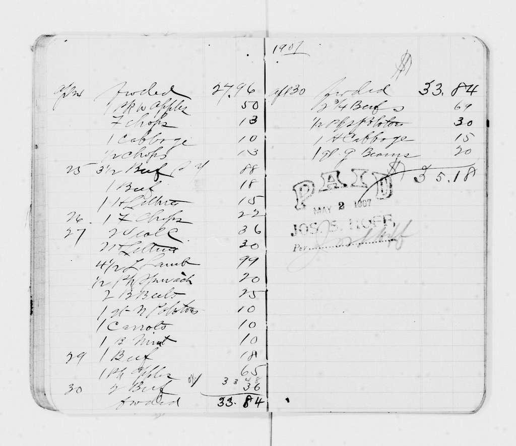 Woodrow Wilson Papers: Series 8: Financial Material, 1864-1944; Subseries F: Bills and Receipts, 1882-1924; Bills and Receipts; 1906-1913; H-P