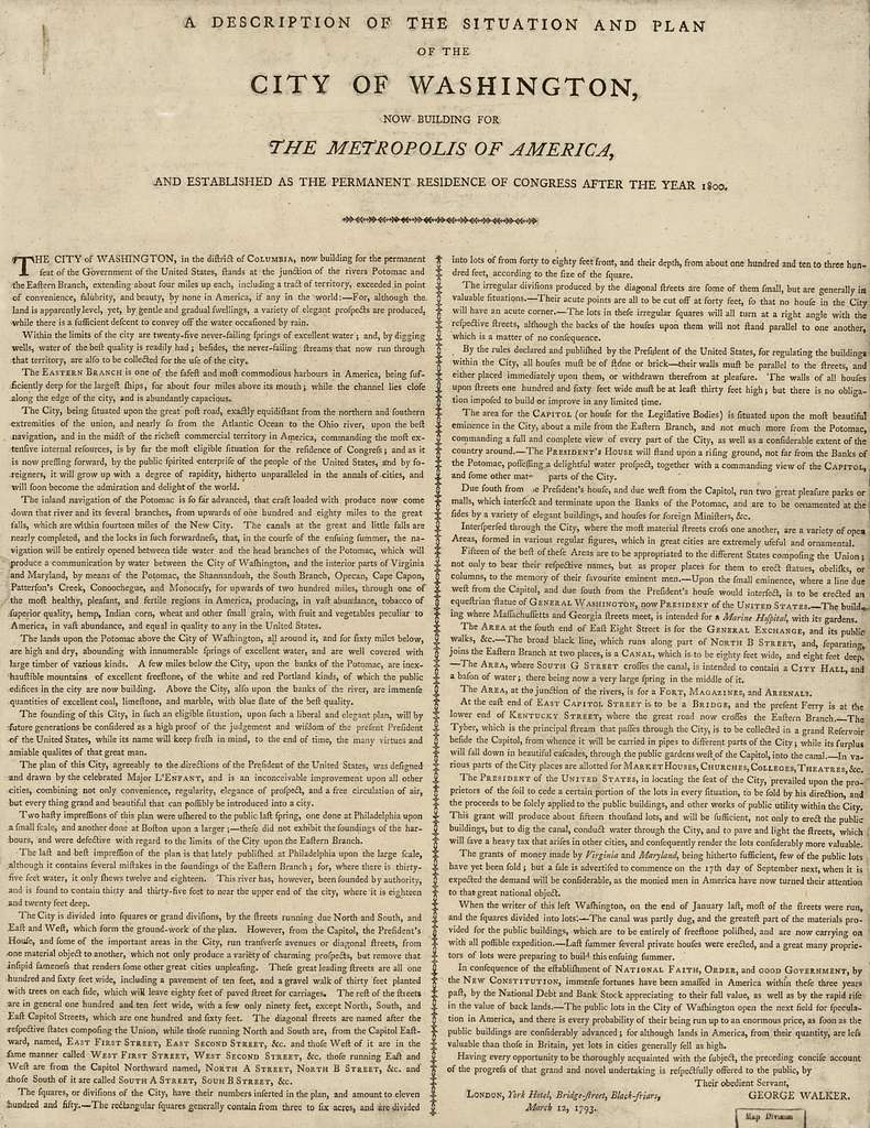 A description of the situation and plan of the city of Washington : now building for the metropolis of America, and established as the permanent residence of Congress after the year 1800 /