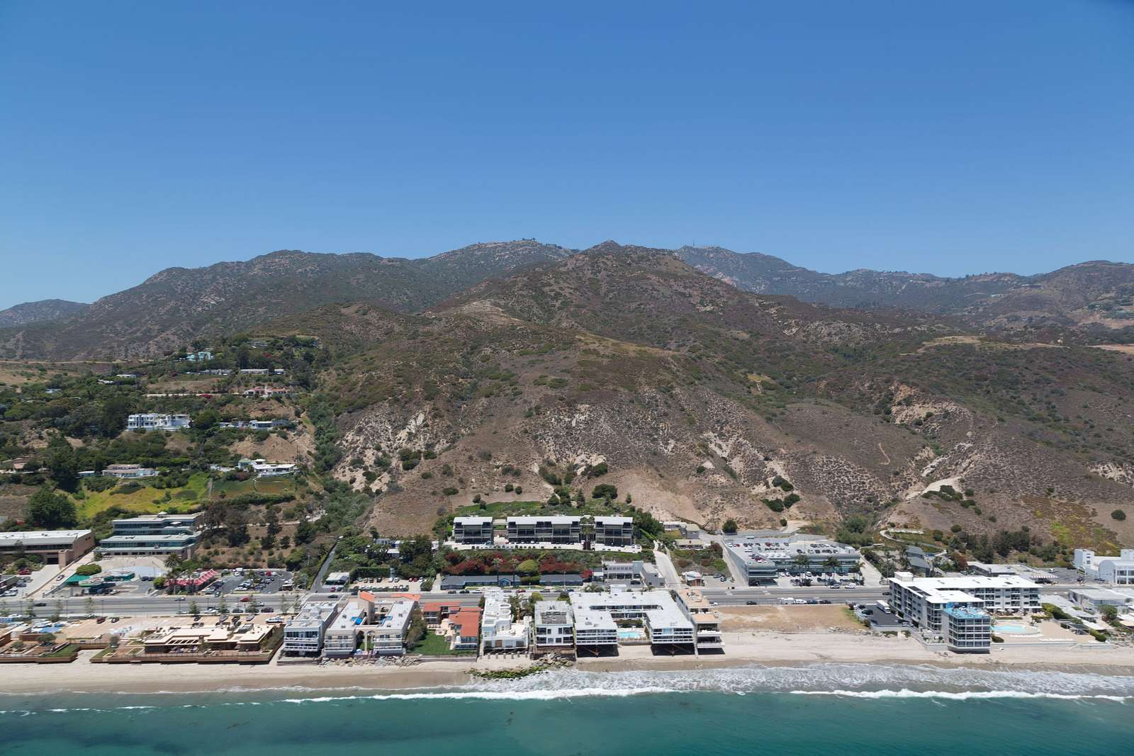 Aerial of Pacific Coast Beach, Los Angeles, California