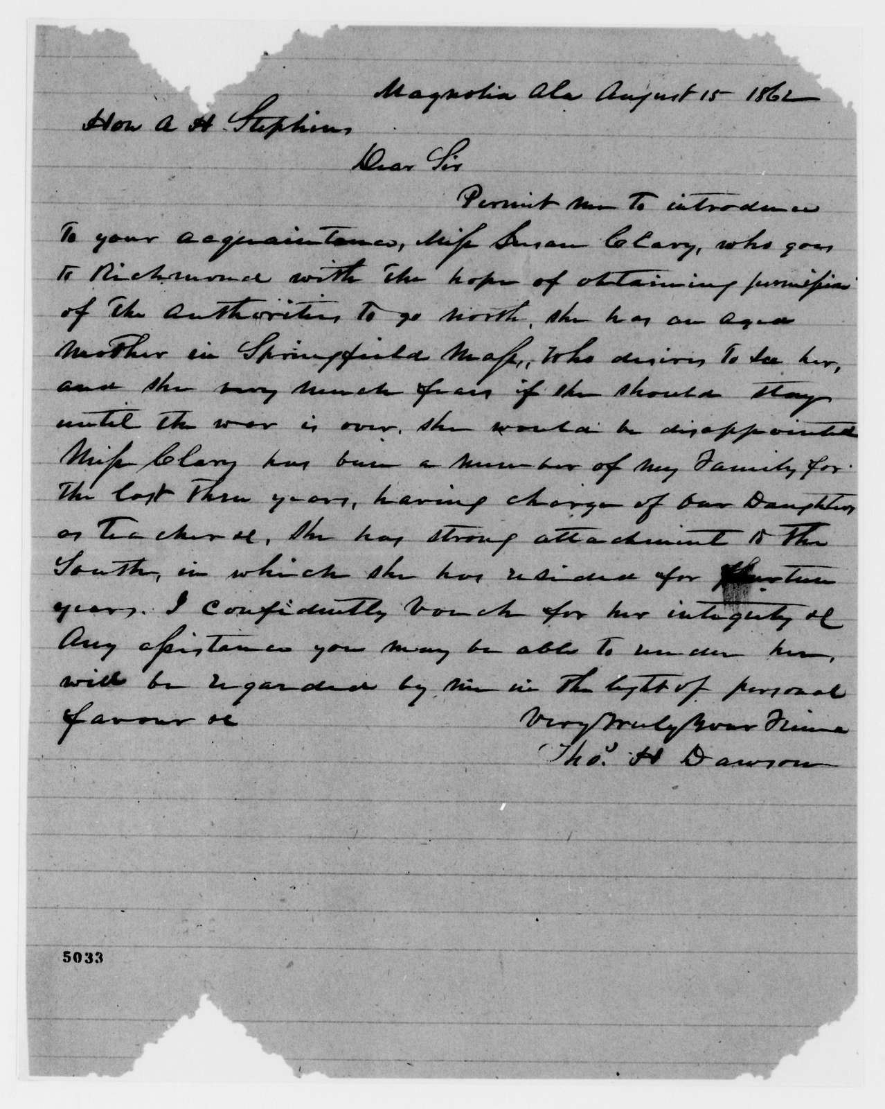 Alexander Hamilton Stephens Papers: General Correspondence, 1784-1886; 1862, June 19-Sept. 8