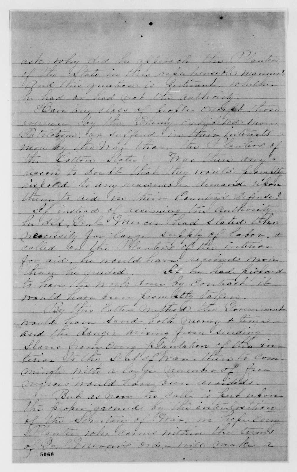 Alexander Hamilton Stephens Papers: General Correspondence, 1784-1886; 1862, June 19-Sept. 8