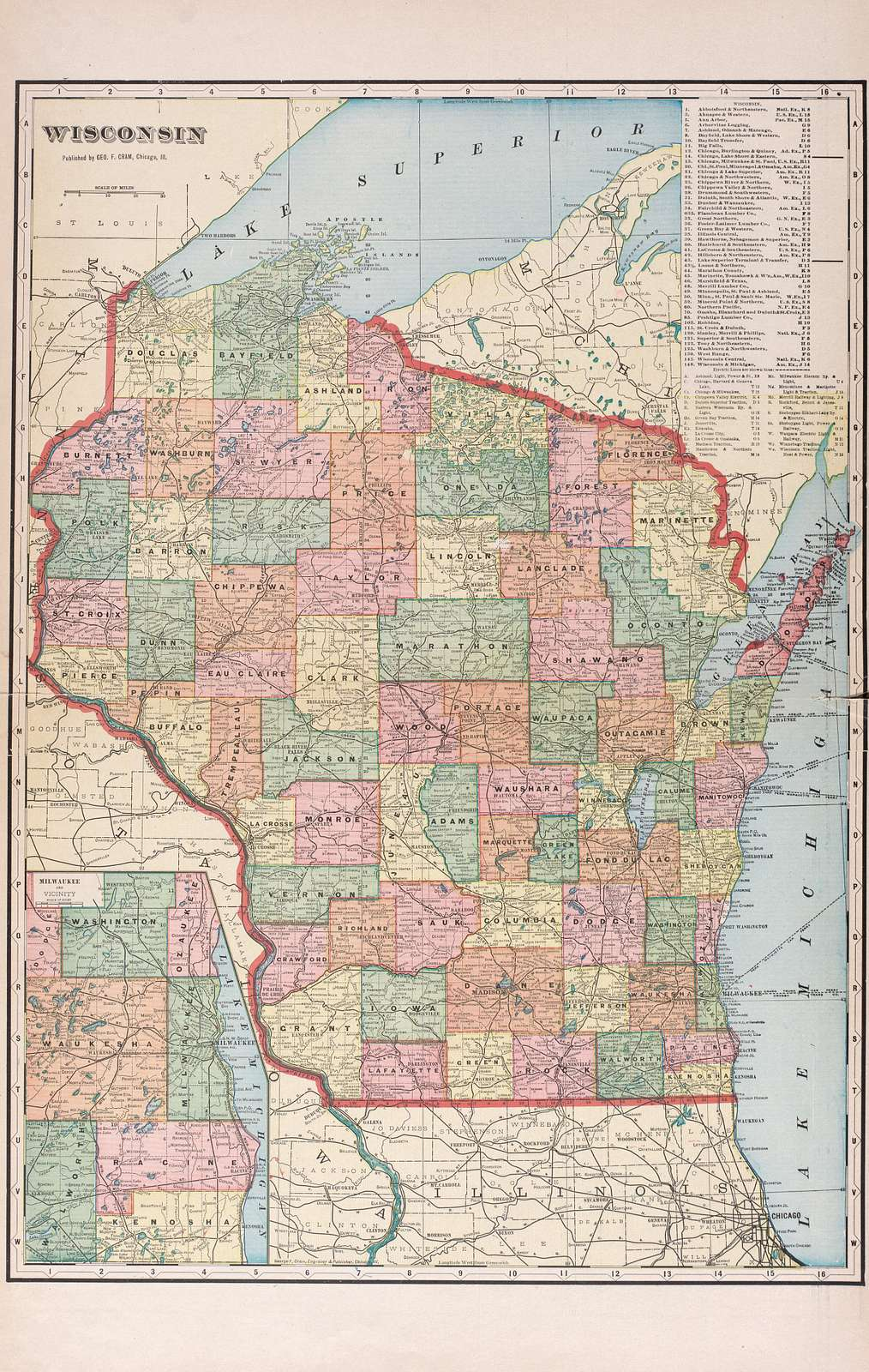 Atlas of Waushara County, Wisconsin : containing maps of villages, cities and townships of the county, maps of state and United States.