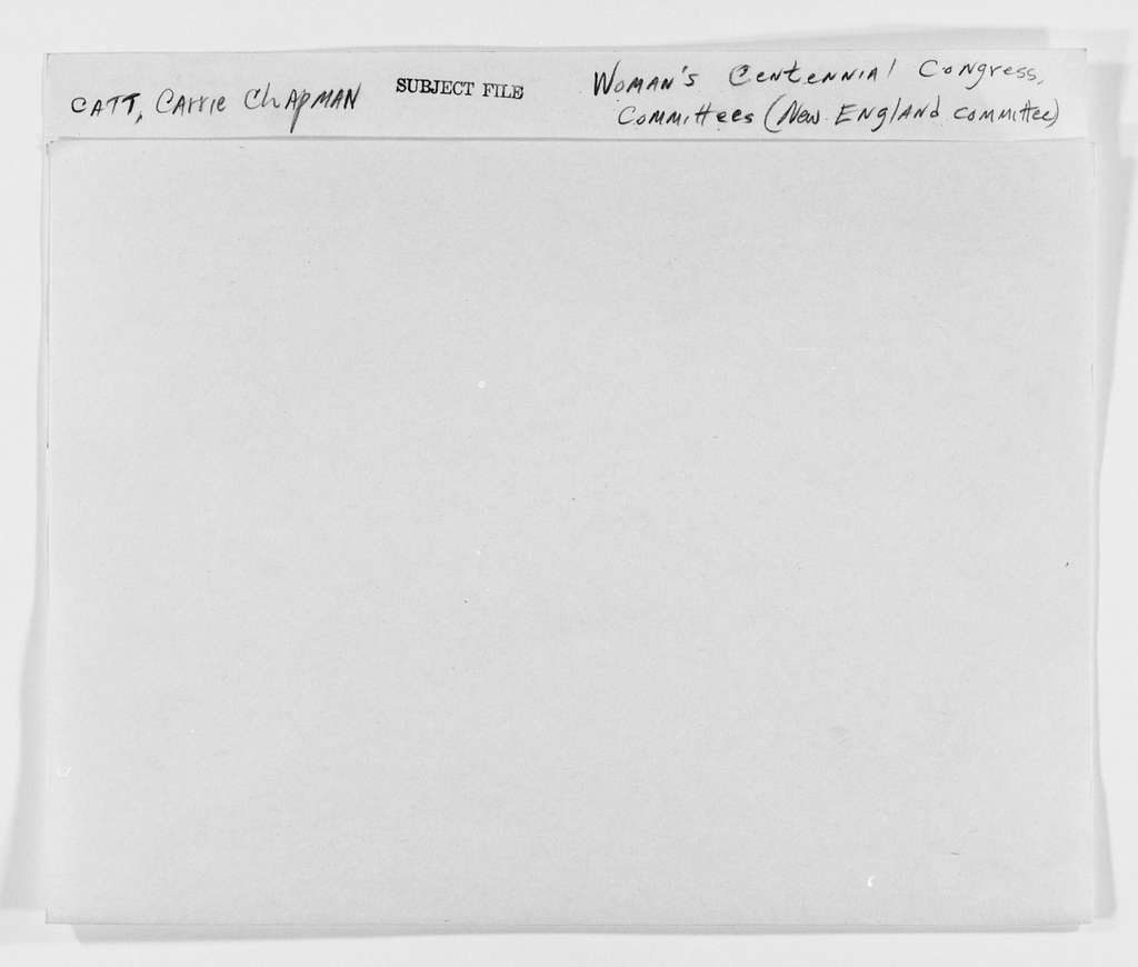 Carrie Chapman Catt Papers: Subject File, 1848-1950; Woman's Centennial Congress; Committees; New England; General