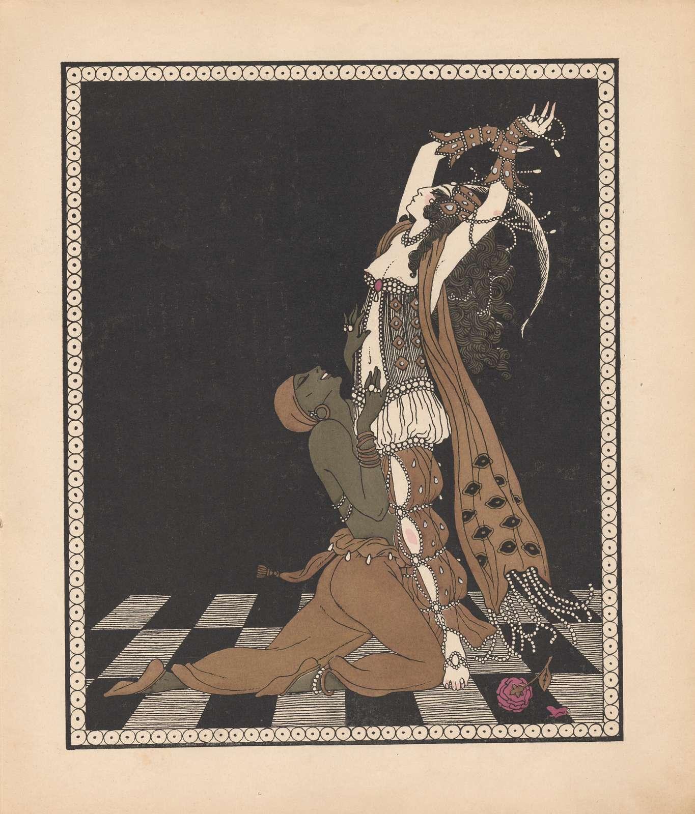 Color print by George Barbier of Vaslav Nijinsky and Ida Rubinstein in Schéhérazade, 1913