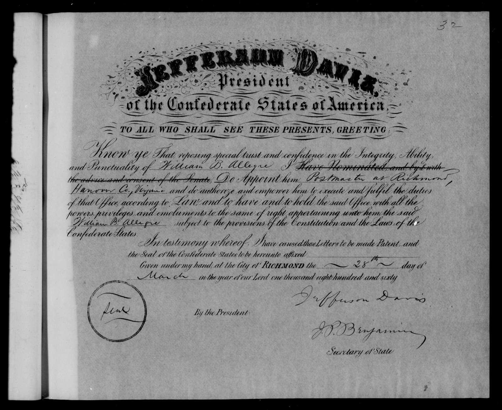 Confederate States of America records: Microfilm Reel 22