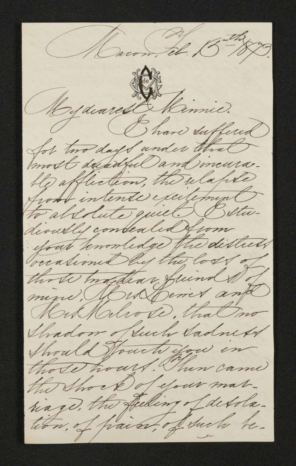 Lewis H. Machen Family Papers: Gresham Family Correspondence, 1834-1925; 1873-1874