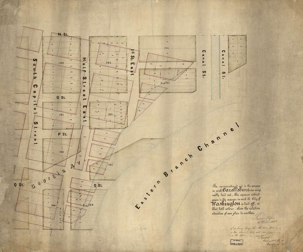 [Map of Carrollsburg showing its street and lot system with the later streets and lots of Washington D.C. superimposed] /