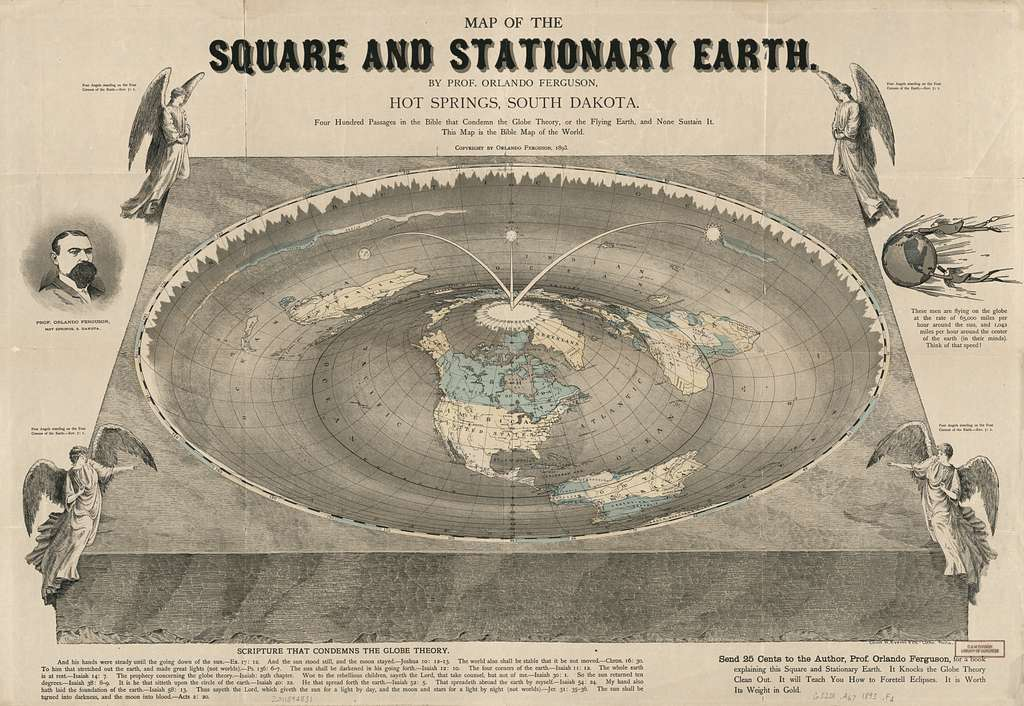 Map of the square and stationary earth : four hundred passages in the Bible that condemn the Globe Theory, or the Flying Earth, and none sustain it ; this map is the Bible map of the world /