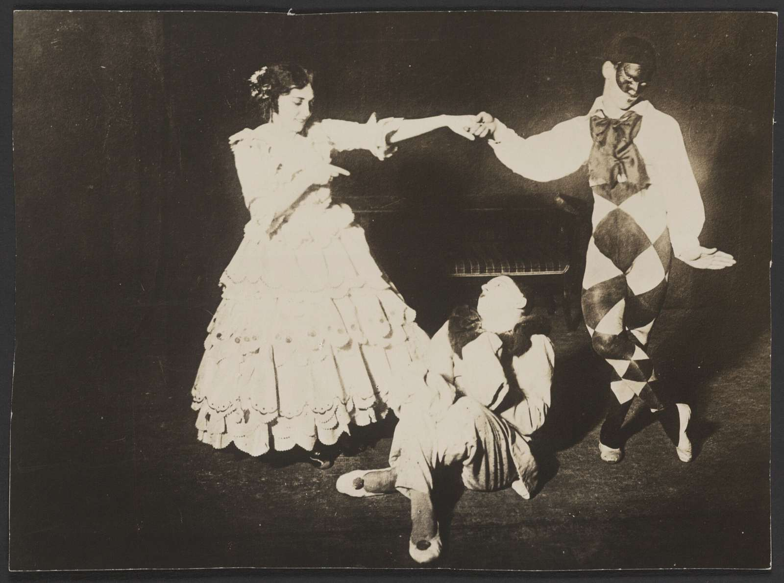 Photograph of Tamara Karsavina, Vaslav Nijinsky, and Adolph Bolm in Le Carnaval, n.d., no photographer