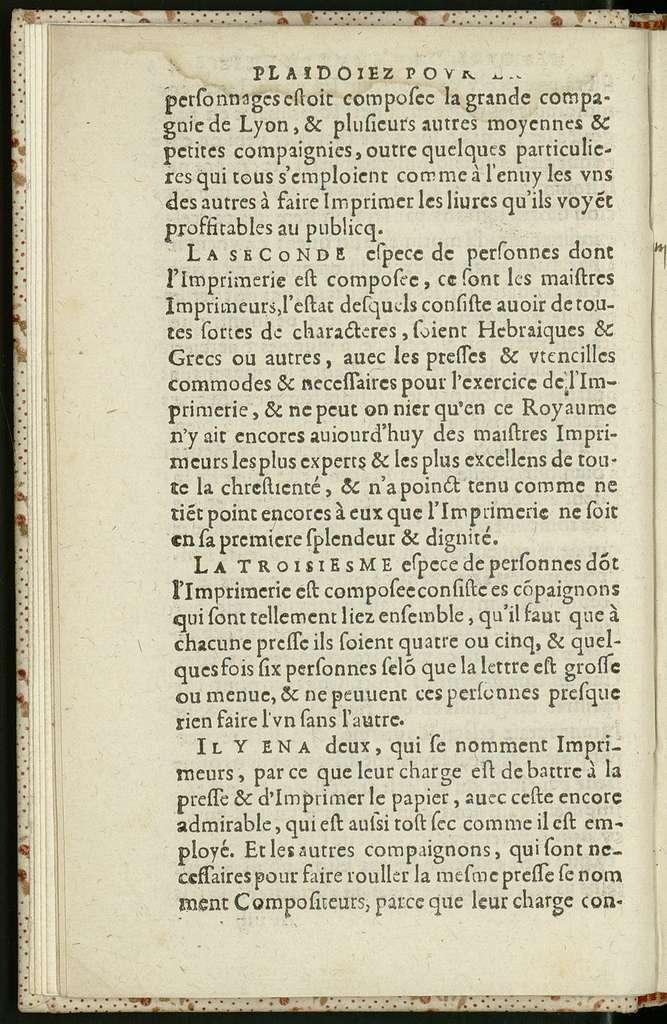 Plaidoyez povr la reformation de l'imprimerie.