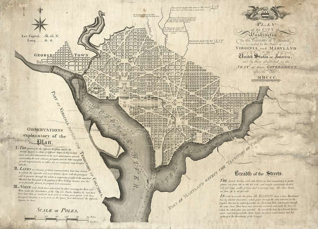 Plan of the city of Washington in the territory of Columbia : ceded by the states of Virginia and Maryland to the United States of America, and by them established as the seat of their government, after the year MDCCC /