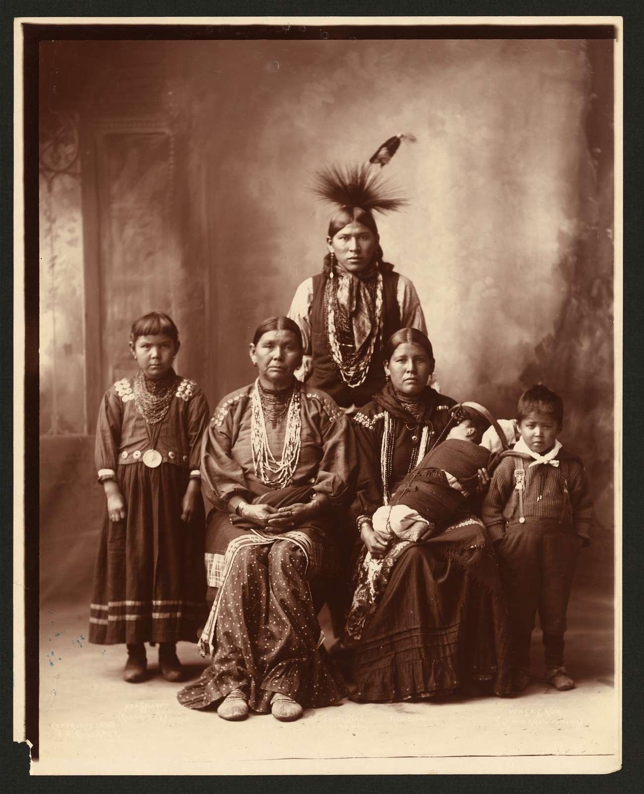 [Sauk Indian family, full-length portrait] / F.A. Rinehart, Omaha.