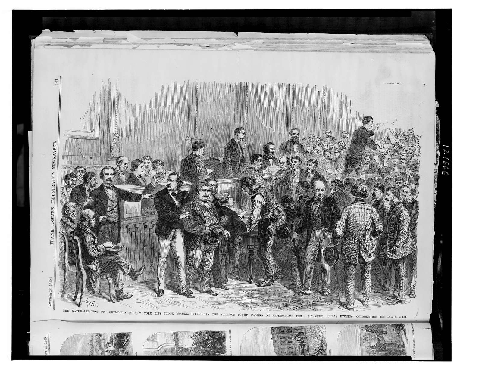 The naturalization of foreigners in New York City - Judge McCunn sitting in the Superior Court, passing on applications for citizenship, Friday evening, October 22, 1869 / BGHS.
