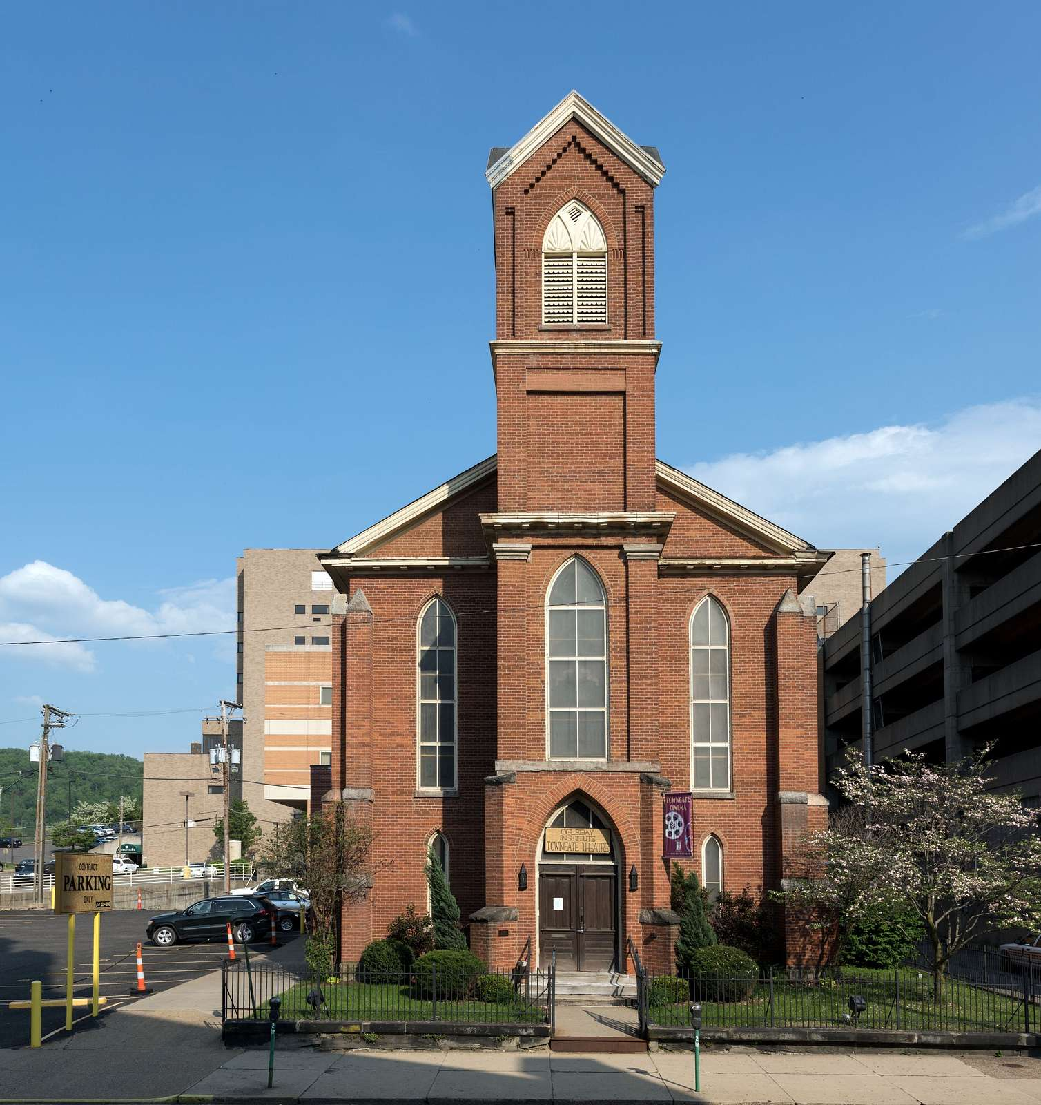 The Towngate Theater Building, which was built c. 1850 and long served as the First German Zion Evangelical Lutheran Church in downtown Wheeling, West Virginia