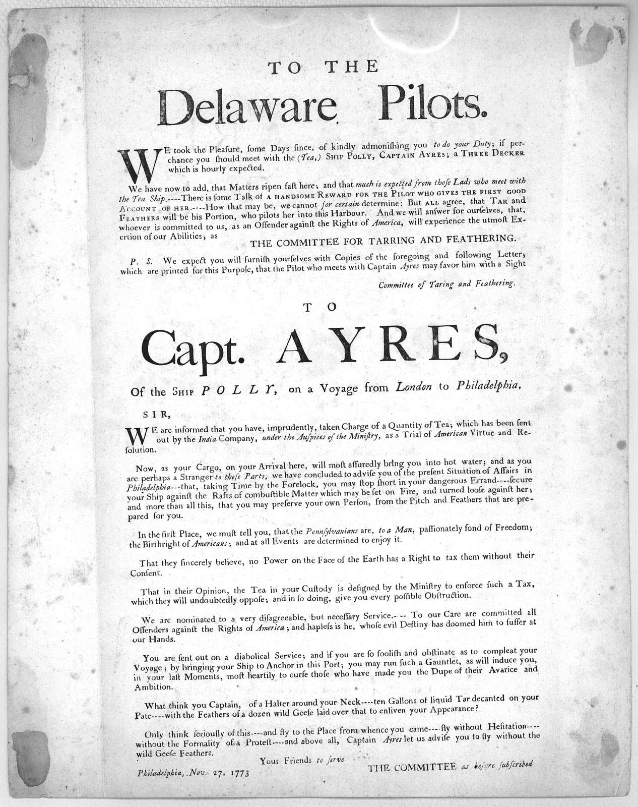 To the Delaware pilots. We took the pleasure some days since, of kindly admonishing you to do your duty; if perchance you should meet with the (ea). Ship Polly, Captain Ayres; a three decker which is hourly expected .... to Capt. Ayres of the sh