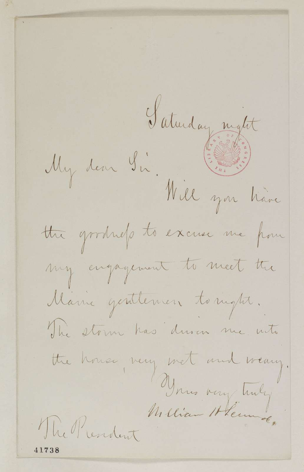 Abraham Lincoln papers: Series 1. General Correspondence. 1833-1916: William H. Seward to Abraham Lincoln, ND (Meeting with delegation from Maine)