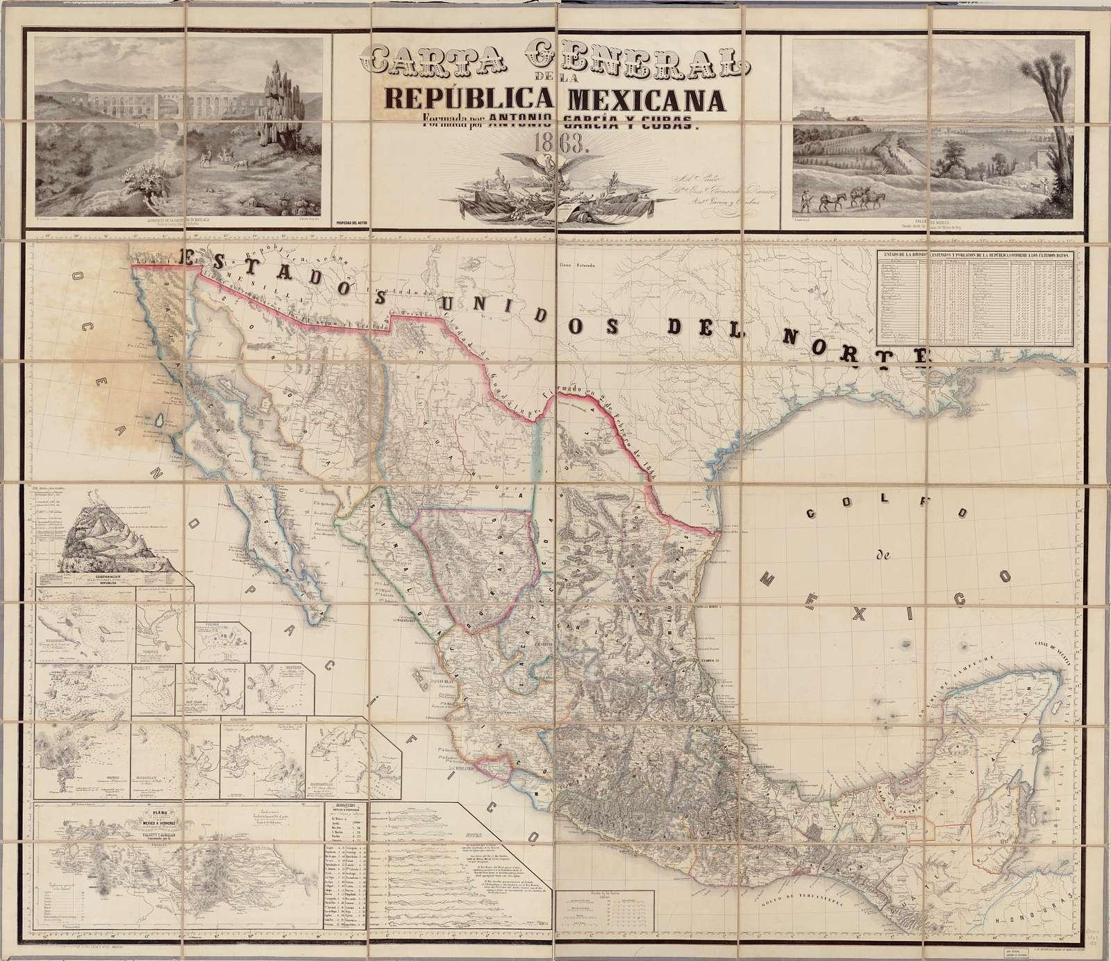 Carta general de la República Mexicana.