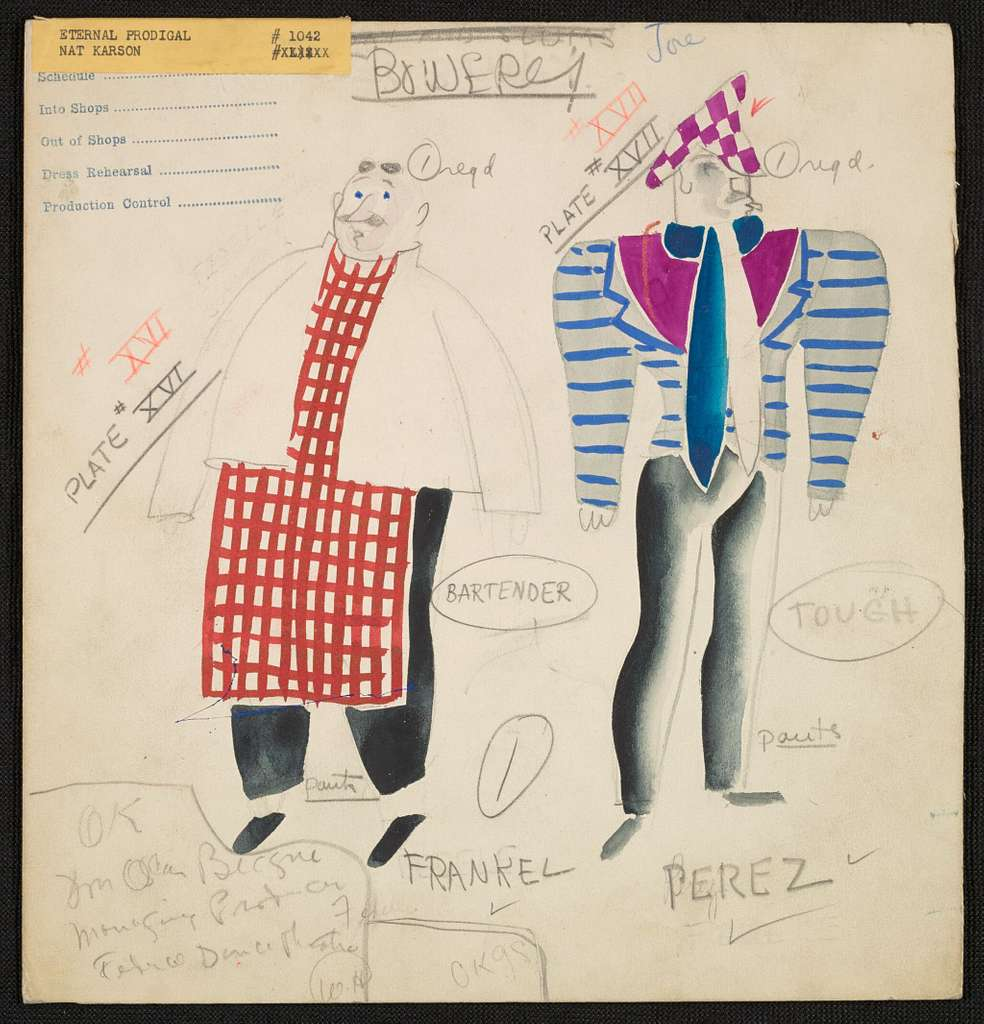 Eternal Prodigal: Bowery Bartender red check apron with white coat; Tough blue striped coat with purple checked hat