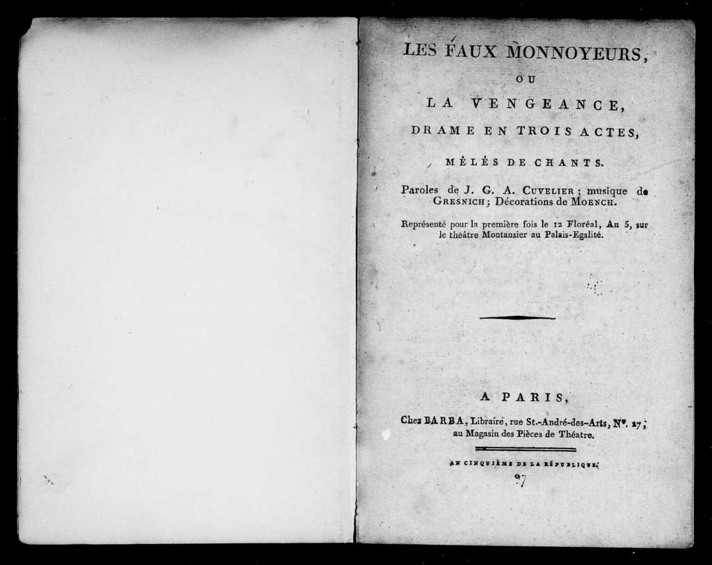 Faux monnayeurs. Libretto. French