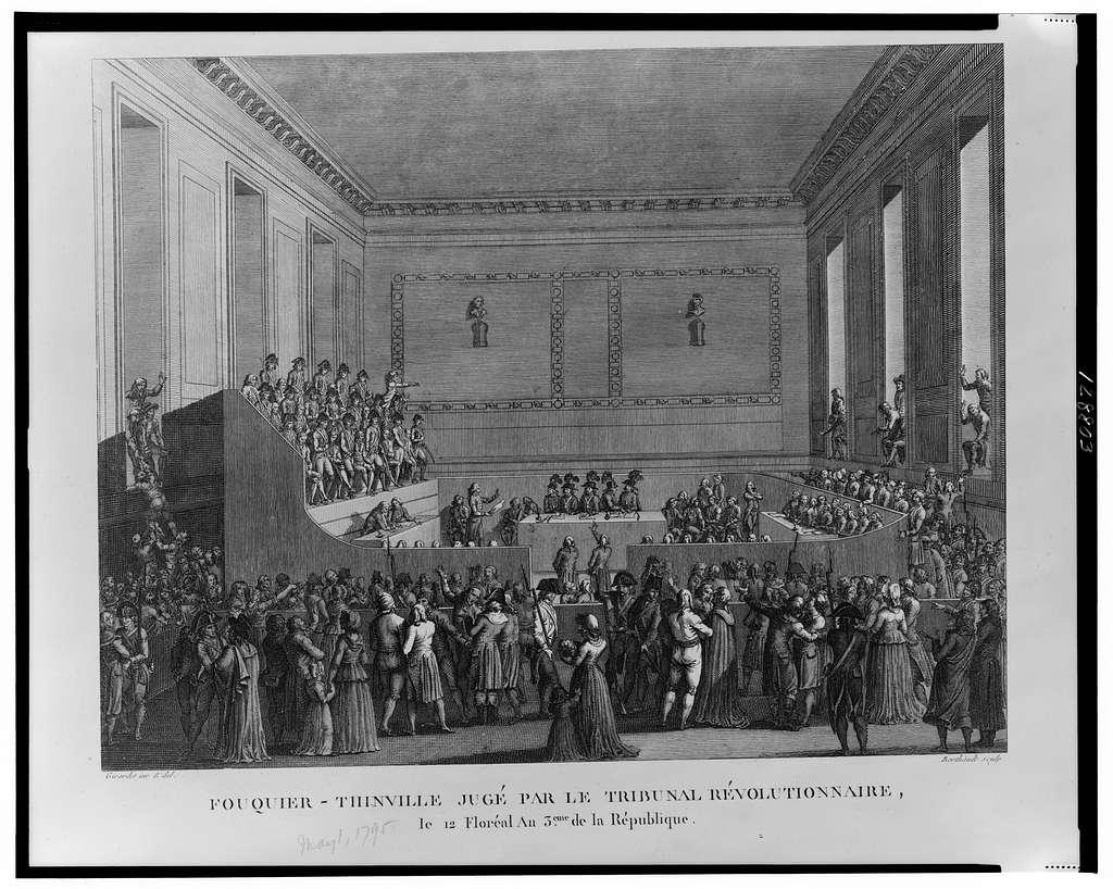 Fouquier-Thinville jugé par le tribunal révolutionnaire, le 12 Floréal au 3eme de la République / Girardet inv. & del. ; Berthault sculp.