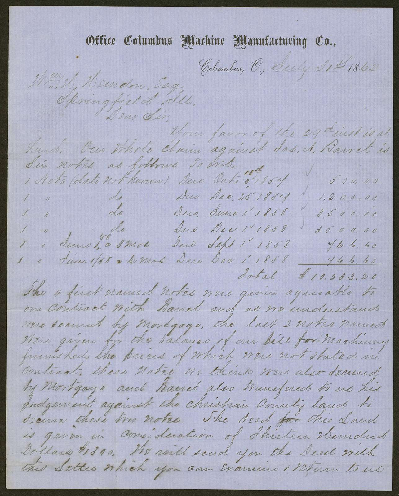 [Law papers] Letter to William H. Herndon, Esq. From W. D., July 31, 1862.