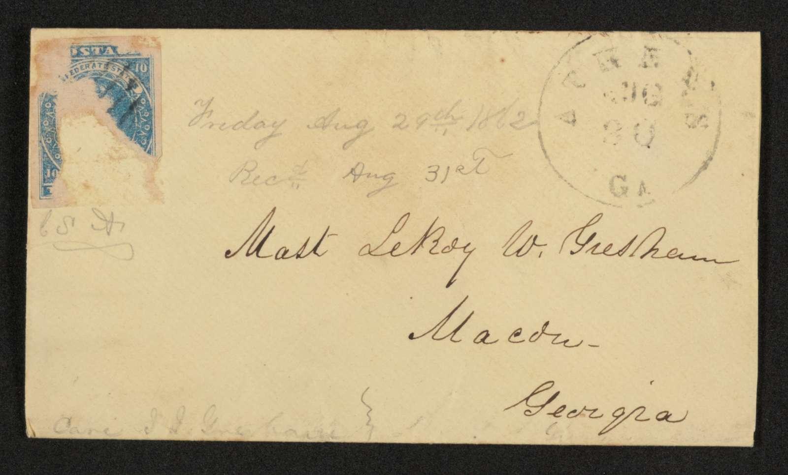Lewis H. Machen Family Papers: Gresham Family Correspondence, 1834-1925; 1862-1863