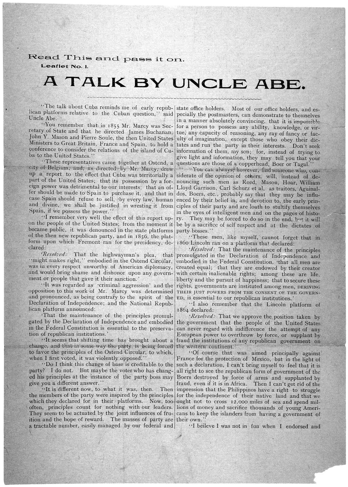 Read this and pass it on. Leaflet No. 1. A talk by Uncle Abe ... December 1, 1899.