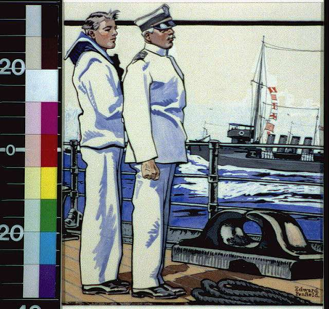 [Sailor and officer standing on deck]