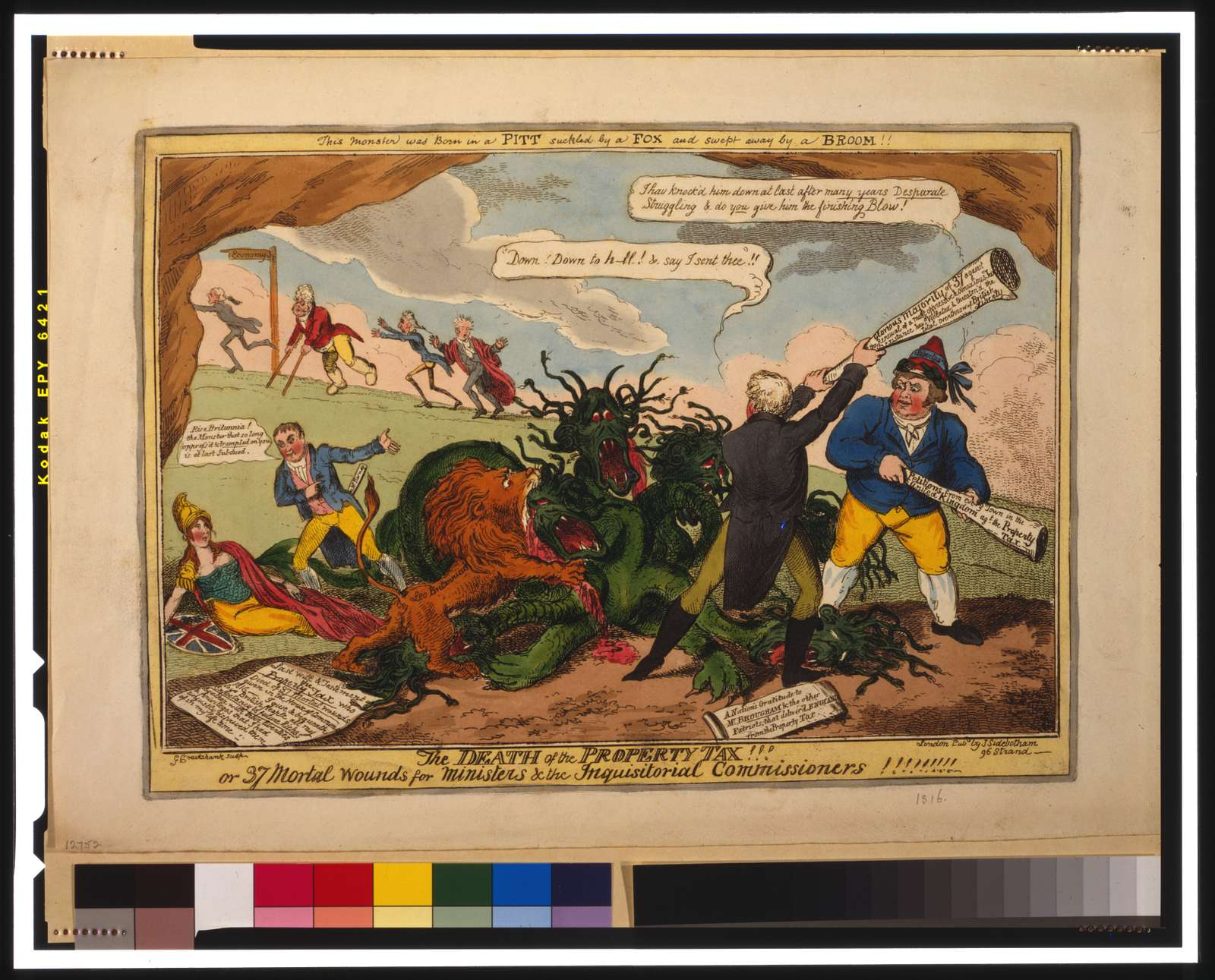 The death of the property tax! Or 37 mortal wounds for ministers & the inquisitoral commissioners! / G. Cruikshank sculp.