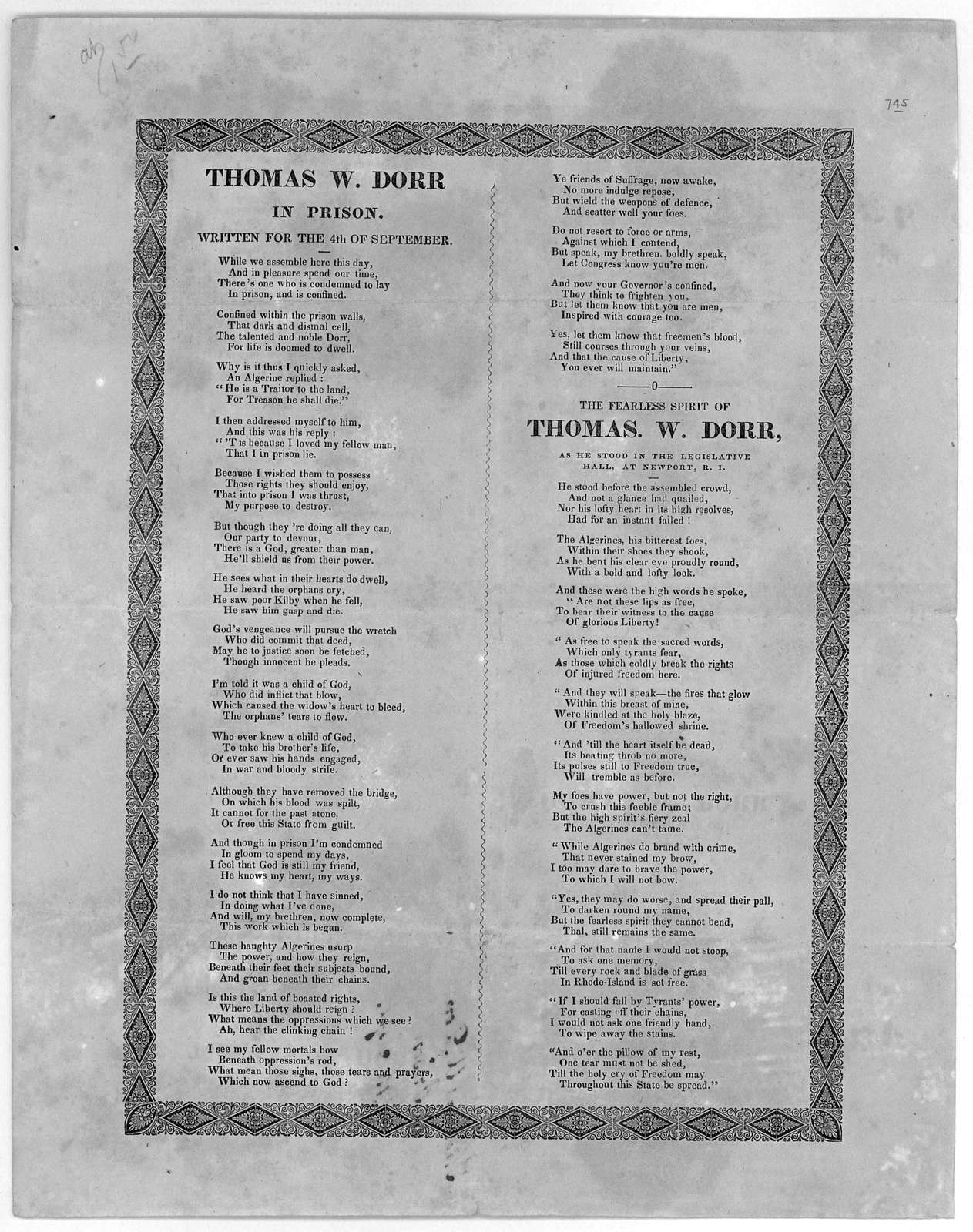 Thomas W. Dorr in prison. Written for the 4th of September ... The fearless spirit of Thomas W. Dorr, as he stood in the legislative hall, at Newport, R. I. [1842].