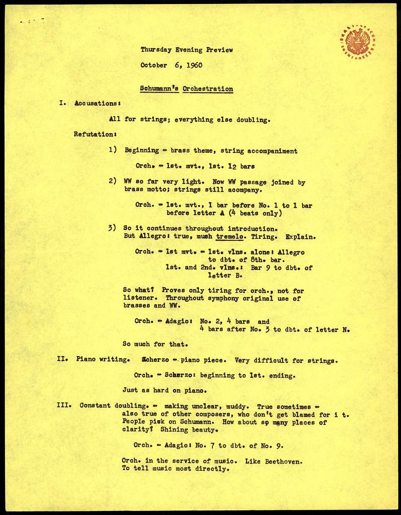 Thursday Evening Previews Scripts: Schumann's Orchestration [2 pages typescript on yellow paper, 1 page typescript on white paper]