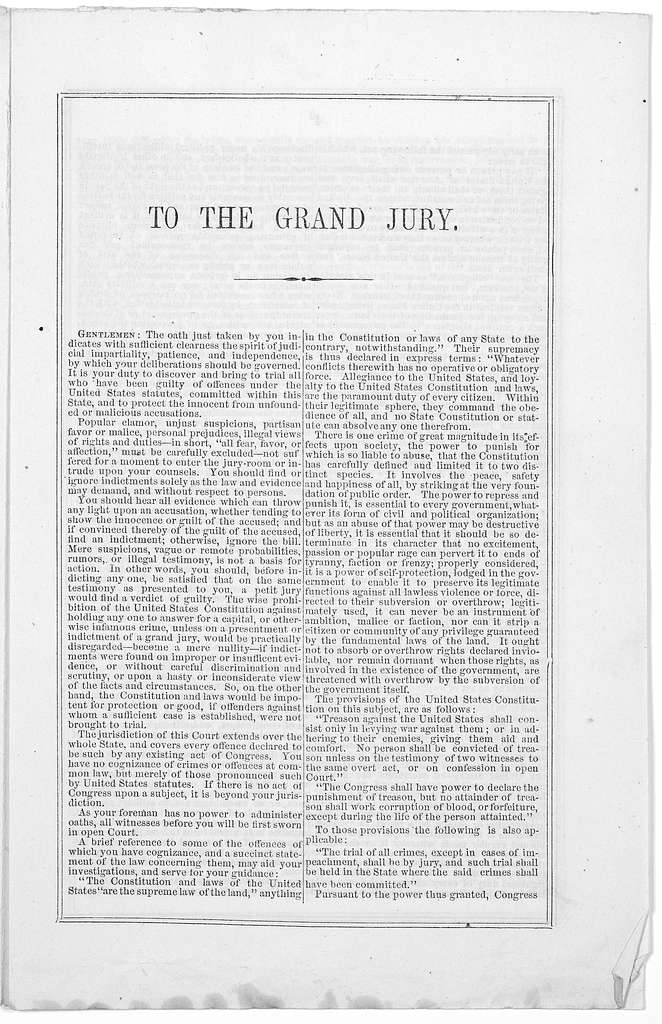 United States Circuit Court, District of Missouri, Special July term, 1861 ... Charge to the Grand Jury by the Court. July 10, 1861. St. Louis: Printed at the Democrat book and Job office 1861.